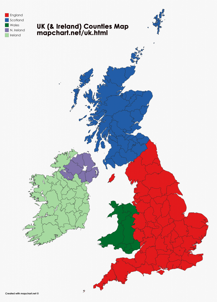 United Kingdom map showing England, Wales, Scotland and N Ireland counties