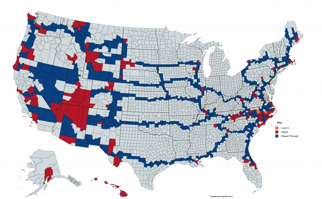 USA Counties travel map.