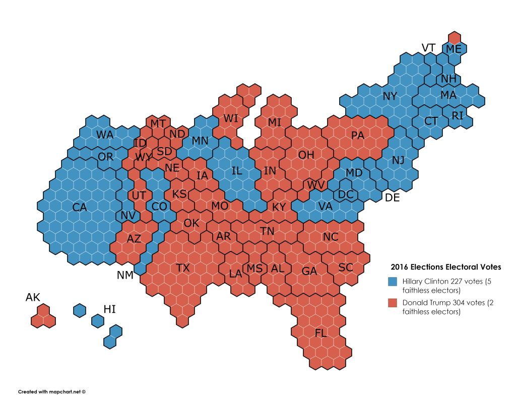 Electoral College map for the 2016 US Presidential Elections
