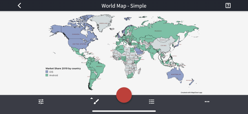 world map ios android market share